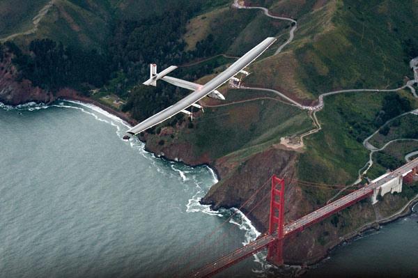 <div class='meta'><div class='origin-logo' data-origin='AP'></div><span class='caption-text' data-credit='AP Photo/Noah Berger'>Solar Impulse 2 flies over the Golden Gate Bridge in San Francisco, Saturday, April 23, 2016.</span></div>