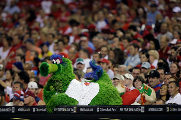 <div class='meta'><div class='origin-logo' data-origin='none'></div><span class='caption-text' data-credit='AP Photo/ Matt Slocum'>The Philadelphia Phanatic watches a ball game from on-top of the Phillies dugout during a baseball game against the Colorado Rockies, Friday, Sept. 7, 2012, in Philadelphia.</span></div>