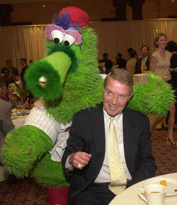 <div class='meta'><div class='origin-logo' data-origin='none'></div><span class='caption-text' data-credit='AP Photo/ DAN LOH'>Harry Kalas, longtime broadcaster of the Philadelphia Phillies, is greeted by the Phillie Phanatic Wednesday, June 19, 2002.</span></div>
