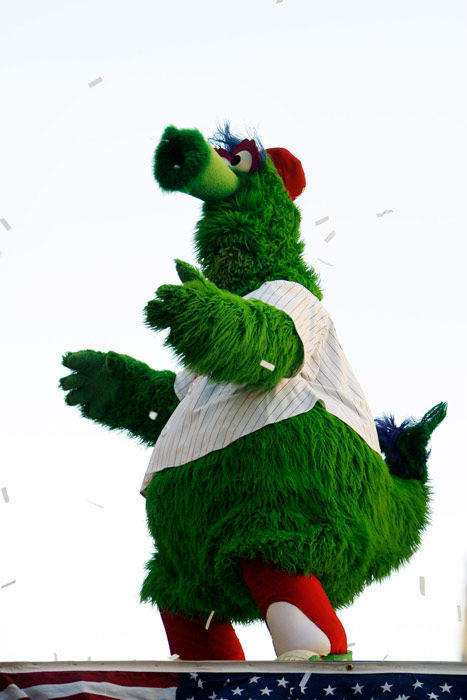 <div class='meta'><div class='origin-logo' data-origin='none'></div><span class='caption-text' data-credit='AP Photo/ Matt Rourke'>The Philadelphia Phillies mascot the Phillie Phanatic is seen during a jubilant victory parade in downtown Philadelphia Friday, Oct. 31, 2008.</span></div>