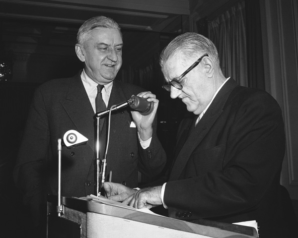 <div class='meta'><div class='origin-logo' data-origin='AP'></div><span class='caption-text' data-credit='AP Photo/Bill Ingraham'>Washington Redskins Club president George Marshall with National Football League Commissioner Bert Bell in Philadelphia on Jan. 31, 1957.</span></div>