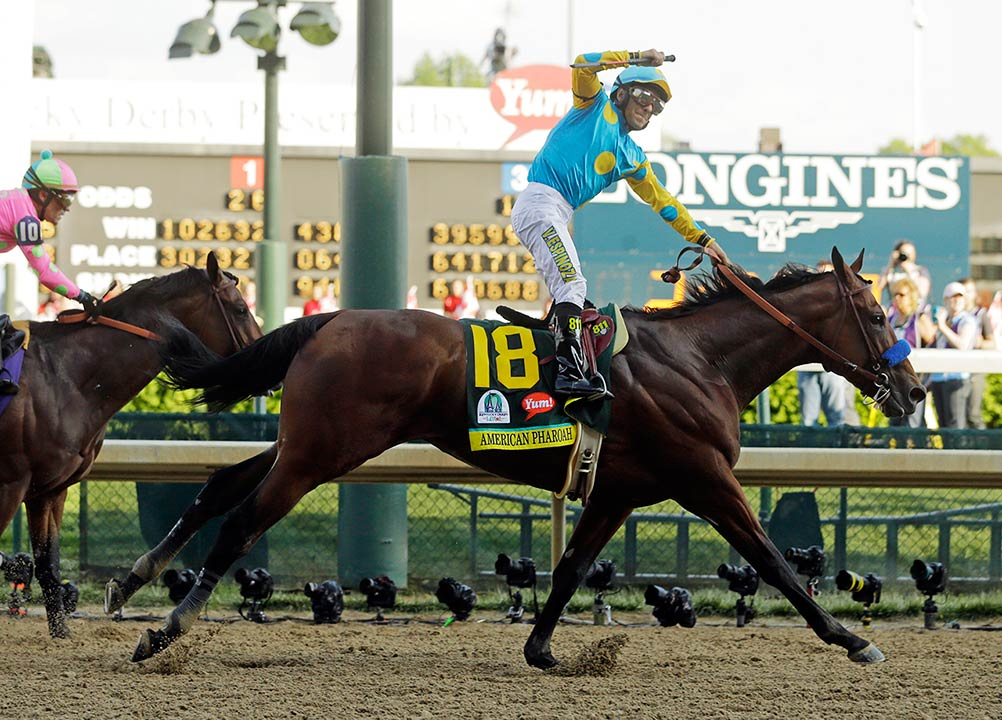 "<div class=""meta image-caption""><div class=""origin-logo origin-image none""><span>none</span></div><span class=""caption-text"">Victor Espinoza rides American Pharoah to victory in the 141st running of the Kentucky Derby on Saturday, May 2, 2015, in Louisville, Ky.  (AP Photo/Morry Gash)</span></div>"