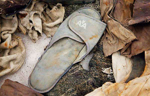 An American Airlines slipper, an artifact from the Sept. 11, 2001 attacks, will be part of the National September 11 Memorial Museum. (AP Photo/Mark Lennihan, File) <span class=meta>Photo/Mark Lennihan</span>