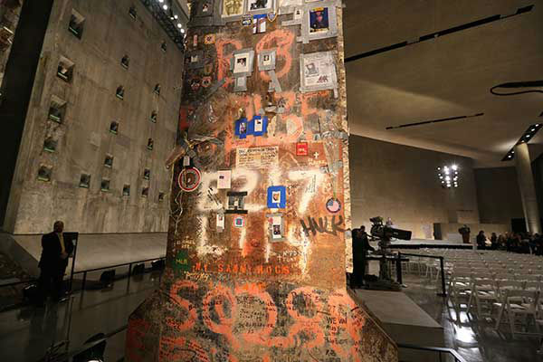 A steel beam from the World Trade Center stands at the center of Foundation Hall on Thursday, May 15, 2014 (AP Photo/The Star-Ledger, John Munson, Pool) <span class=meta>Photo/John Munson</span>