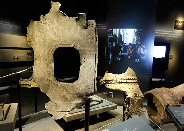 Fragments of the fuselage of Flight 11, that hit the World Trader Center, are displayed at the National Sept. 11 Memorial Museum. (AP Photo) <span class=meta>Photo/Uncredited</span>