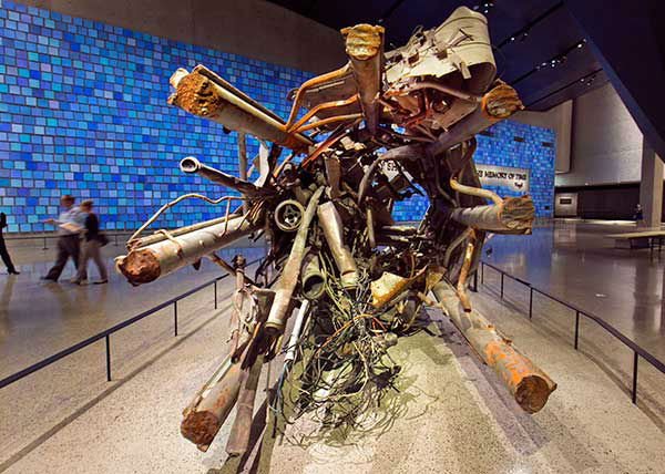 The twisted remains of a portion of the television transmission tower from the World Trade Center is displayed at the National Sept. 11 Memorial Museum.  (AP Photo) <span class=meta>Photo/Uncredited</span>