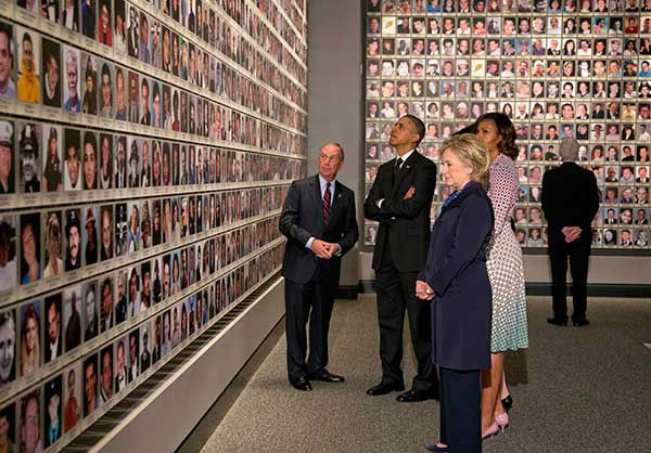 President Obama, Michelle Obama, Michael Bloomberg, Hillary Rodham Clinton, and Bill Clinton and tour the Sept. 11 museum.  (AP Photo/Carolyn Kaster) <span class=meta>Photo/Carolyn Kaster</span>