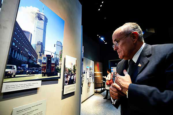 Former New York City Mayor Rudolph Giuliani looks at displays at the National September 11 Memorial Museum  (AP Photo/The Daily News, James Keivom, Pool) <span class=meta>Photo/James Keivom</span>