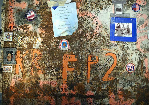 "<div class=""meta ""><span class=""caption-text "">The Last Column was the final steel beam ceremonially removed from Ground Zero is shown at the dedication. (AP Photo/Timothy A. Clary, Pool) (Photo/TIMOTHY A. CLARY)</span></div>"