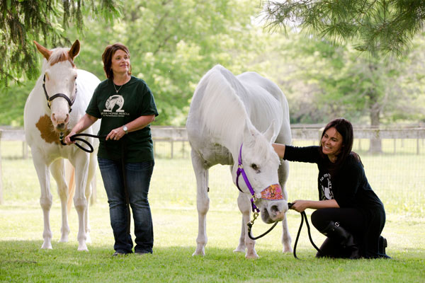 <div class='meta'><div class='origin-logo' data-origin='AP'></div><span class='caption-text' data-credit='AP Photo/Matt Rourke'>Tracey Stewart, right, kneels besides Lily, the horse she and her husband, Jon Stewart, have adopted, as Kelly Smith, founder of Omega Horse Rescue, holds a horse named Anita.</span></div>