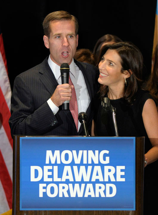 "<div class=""meta image-caption""><div class=""origin-logo origin-image none""><span>none</span></div><span class=""caption-text"">Delaware Attorney General Beau Biden, D-Del., celebrates his re-election with his wife, Hallie, during a Democratic election night rally in Wilmington, Del., Tuesday, Nov. 2, 2010. (AP Photo/ Susan Walsh)</span></div>"
