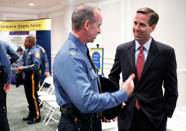 "<div class=""meta image-caption""><div class=""origin-logo origin-image none""><span>none</span></div><span class=""caption-text"">Delaware Attorney General Beau Biden, right, talks with Col. Robert Coupe at a Delaware State Police Promotion Ceremony in Dover, Del., Wednesday, Aug. 11, 2010.  (AP Photo/ Ann Heisenfelt)</span></div>"