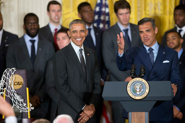 <div class='meta'><div class='origin-logo' data-origin='AP'></div><span class='caption-text' data-credit='AP Photo/Pablo Martinez Monsivais'>President Barack Obama, with Villanova head basketball coach Jay Wright, participate in a ceremony in the East Room of the White House in Washington, Tuesday, May 31, 2016.</span></div>