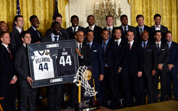 <div class='meta'><div class='origin-logo' data-origin='AP'></div><span class='caption-text' data-credit='AP Photo/Pablo Martinez Monsivais'>President Barack Obama poses for a photo with the NCAA Champion Villanova Wildcats men's basketball team during a ceremony to honor the team and their 2016 NCAA Championship.</span></div>