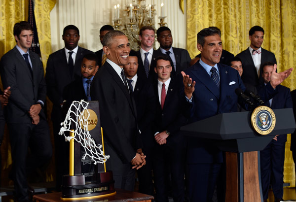 <div class='meta'><div class='origin-logo' data-origin='AP'></div><span class='caption-text' data-credit='AP Photo/Pablo Martinez Monsivais'>President Barack Obama laughs as NCAA Champion Villanova Wildcats men's head basketball coach Jay Wright speaks during a ceremony to honor the team and their NCAA Championship.</span></div>