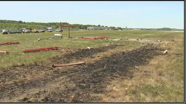 Pictured: The scene of a plane crash that killed Philadelphia Inquirer co-owner Lewis Katz and 6 other in Massachusetts.
