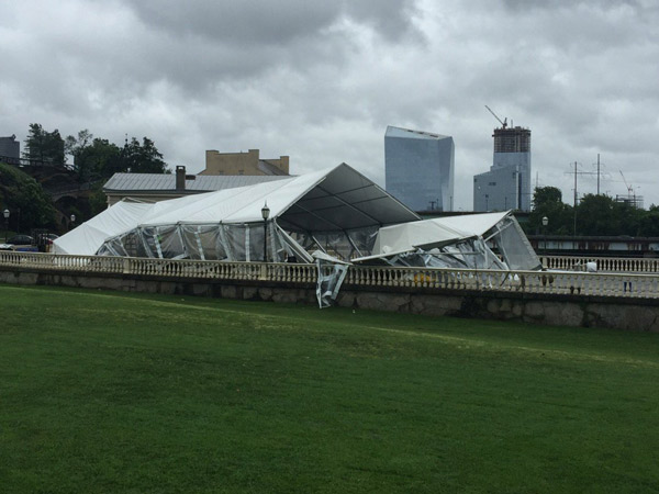 "<div class=""meta image-caption""><div class=""origin-logo origin-image none""><span>none</span></div><span class=""caption-text"">Action News photographer Richard Lacovara sent in a photo of a large tent at Water Works in Center City taken out by the storm. </span></div>"
