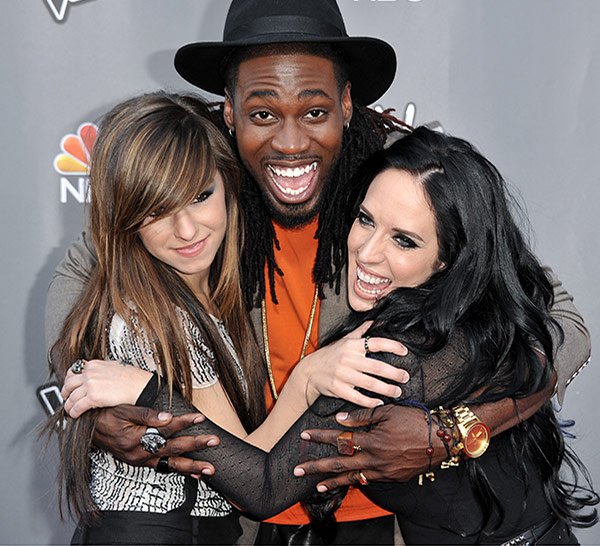 <div class='meta'><div class='origin-logo' data-origin='none'></div><span class='caption-text' data-credit='Photo by Richard Shotwell/Invision/AP'>From left, Christina Grimmie, Delvin Choice, and Kat Perkins seen at &#34;The Voice&#34; Top 12 Red Carpet Event on Tuesday, April 15, 2014 in Universal City, Calif.</span></div>