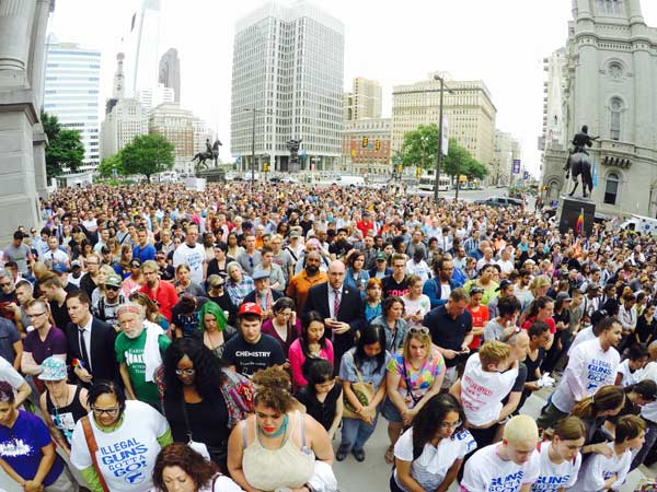 <div class='meta'><div class='origin-logo' data-origin='WPVI'></div><span class='caption-text' data-credit=''>Thousands attend a vigil outside City Hall in Philadelphia for the victims of the Orlando mass shooting.</span></div>