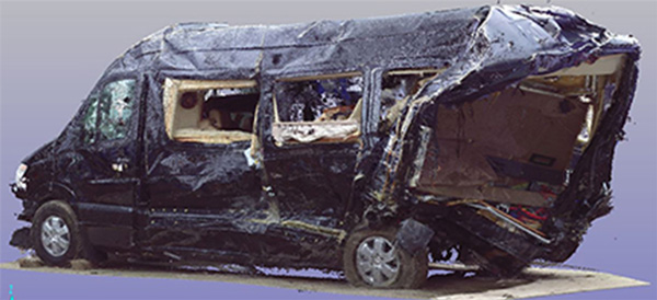 Three-dimensional scan of the Mercedes-Benz limo van involved in the June 7, 2014, crash in Cranbury, New Jersey. <span class=meta></span>