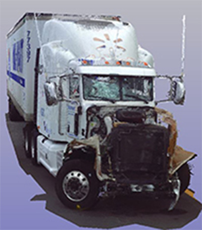 Three-dimensional scan of the Peterbilt combination vehicle involved in the June 7, 2014, crash in Cranbury, New Jersey. <span class=meta></span>