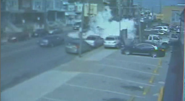 Surveillance video shows the explosion of a food truck in the Feltonville section of Philadelphia on Tuesday, July 1, 2014.