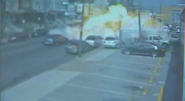 <div class='meta'><div class='origin-logo' data-origin='none'></div><span class='caption-text' data-credit=''>Surveillance video shows the explosion of a food truck in the Feltonville section of Philadelphia on Tuesday, July 1, 2014.</span></div>
