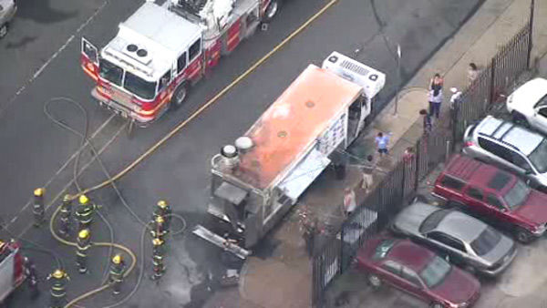 "<div class=""meta ""><span class=""caption-text "">Chopper 6 over the explosion of a food truck in the Feltonville section of Philadelphia on Tuesday, July 1, 2014.</span></div>"