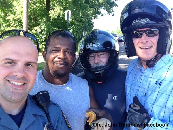"""<div class=""""meta image-caption""""><div class=""""origin-logo origin-image wpvi""""><span>WPVI</span></div><span class=""""caption-text"""">Collegeville Police Officer John Barnshaw is thankful for a Good Samaritan for helping him aid a man who fell from a motorcycle. </span></div>"""