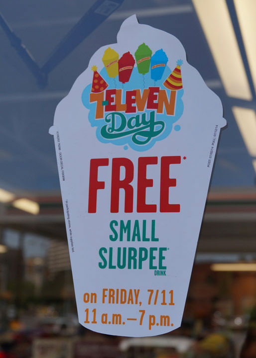 Between 11:00 a.m. and 7:00 p.m. on July 11th, 7-Eleven customers enjoy a FREE SMALL Slurpee? drink. <span class=meta>7-Eleven</span>