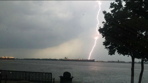 Lightning and heavy rains hit the Philadelphia area on July 14, 2014. <span class=meta>Richard St.Petery from West Deptford, NJ / Facebook</span>