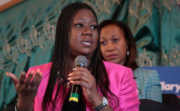 <div class='meta'><div class='origin-logo' data-origin='AP'></div><span class='caption-text' data-credit='AP Photo/Bebeto Matthews'>Sybrina Fulton, the mother of Trayvon Martin, speaks as Pam Bosley, mother of Terrell Bosley, right, listens Saturday, April 16, 2016, at Mount Ararat Church in Brooklyn.</span></div>