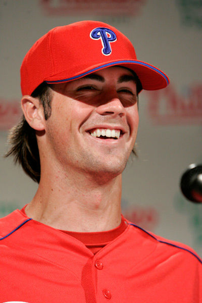 <div class='meta'><div class='origin-logo' data-origin='none'></div><span class='caption-text' data-credit='Photo/GEORGE WIDMAN'>Philadelphia Phillies left-handed pitcher Cole Hamels smiles during a news conference Wednesday, May 10, 2006, in Philadelphia.</span></div>