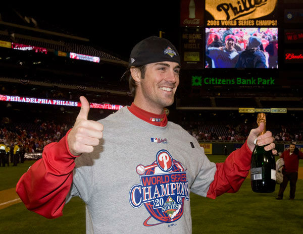 <div class='meta'><div class='origin-logo' data-origin='none'></div><span class='caption-text' data-credit='Photo/Chris O'Meara'>Cole Hamels celebrates on the field after Game 5 of the baseball World Series in Philadelphia, Wednesday, Oct. 29, 2008.</span></div>