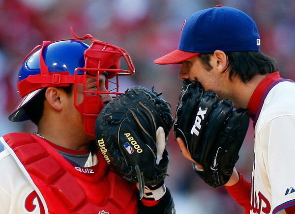 <div class='meta'><div class='origin-logo' data-origin='none'></div><span class='caption-text' data-credit='Photo/Mel Evans'>Carlos Ruiz, left, talks with Cole Hamels duirng Game 2 of the National League division baseball series against the Colorado Rockies, Oct. 8, 2009, in Philadelphia.</span></div>
