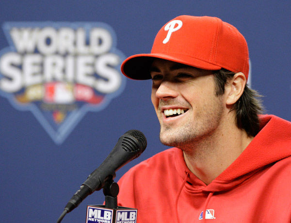 <div class='meta'><div class='origin-logo' data-origin='none'></div><span class='caption-text' data-credit='Photo/Matt Slocum'>Cole Hamels laughs during his press conference at Citizens Bank Park in Philadelphia Friday, Oct. 30, 2009.</span></div>