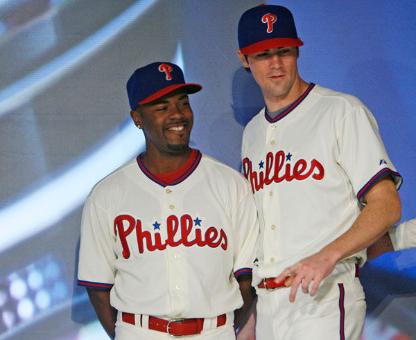 <div class='meta'><div class='origin-logo' data-origin='none'></div><span class='caption-text' data-credit='Photo/Matt Rourke'>Philadelphia Phillies Jimmy Rollins, left, and Cole Hamels model new uniforms during a news conference in Philadelphia, Thursday, Nov. 29, 2007</span></div>
