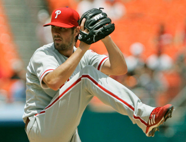 <div class='meta'><div class='origin-logo' data-origin='none'></div><span class='caption-text' data-credit='Photo/Wilfredo Lee'>Philadelphia Phillies' Cole Hamels winds up for a pitch during a game against the Florida Marlins, Sunday, July 20, 2008, in Miami.</span></div>