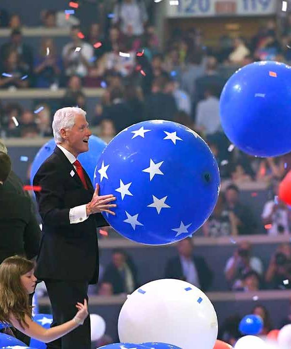 "<div class=""meta image-caption""><div class=""origin-logo origin-image ap""><span>AP</span></div><span class=""caption-text"">Former President Bill Clinton holds a balloon after Democratic presidential nominee Hillary Clinton's acceptance speech during the final day of the Democratic National Convention. (AP Photo/Mark J. Terrill)</span></div>"