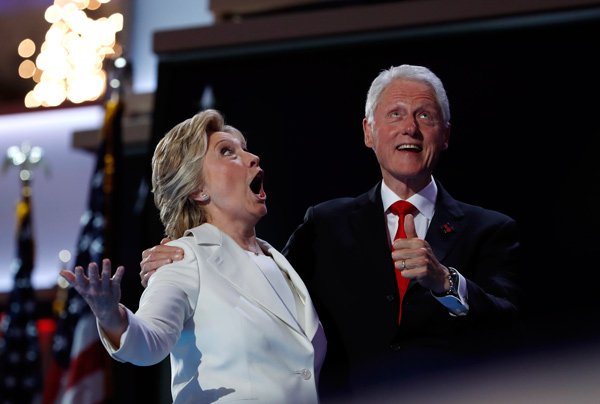"<div class=""meta image-caption""><div class=""origin-logo origin-image ap""><span>AP</span></div><span class=""caption-text"">Democratic presidential nominee Hillary Clinton and Former President Bill Clinton react as balloons fall during the final day of the Democratic National Convention in Philadelphia, (AP Photo/Carolyn Kaster)</span></div>"