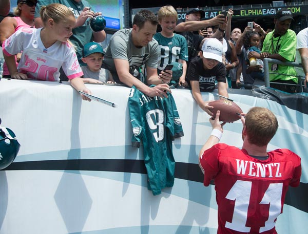 <div class='meta'><div class='origin-logo' data-origin='AP'></div><span class='caption-text' data-credit='AP Photo/Chris Szagola'>Philadelphia Eagles quarterback Carson Wentz signs autographs for the fans following practice at NFL football training camp, Sunday, July 31, 2016, in Philadelphia.</span></div>