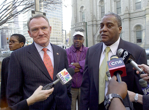"""<div class=""""meta image-caption""""><div class=""""origin-logo origin-image none""""><span>none</span></div><span class=""""caption-text"""">Commissioner John F. Timoney, left, and Deputy Commissioner Sylvester Johnson, right, meet with the press after Timoney held a press conference saying he was stepping down. (ASSOCIATED PRESS)</span></div>"""