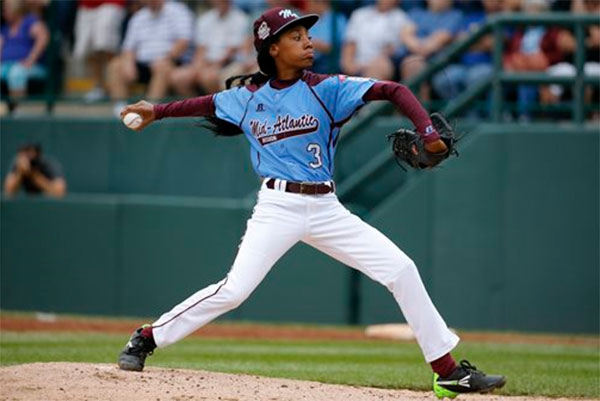 Pennsylvania's Mo'ne Davis delivers in the fifth inning against Tennessee at the Little League World Series Friday, Aug. 15, 2014. <span class=meta>(AP Photo/Gene J. Puskar)</span>