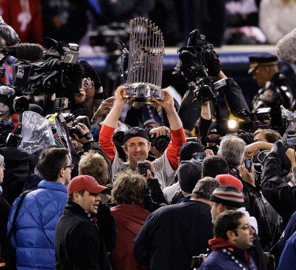 <div class='meta'><div class='origin-logo' data-origin='none'></div><span class='caption-text' data-credit='AP Photo/ Charles Krupa'>Chase Utley holds up the World Series trophy after Game 5 of the baseball World Series in Philadelphia, Wednesday, Oct. 29, 2008.</span></div>
