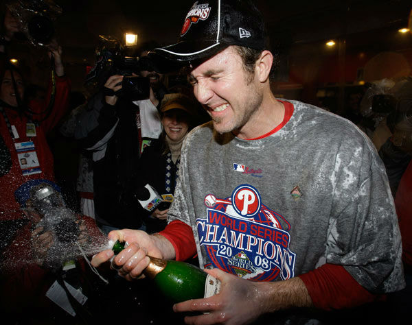 <div class='meta'><div class='origin-logo' data-origin='none'></div><span class='caption-text' data-credit='AP Photo/ Chris O'Meara'>Chase Utley sprays champagne in the team's locker room after their victory in Game 5 of the baseball World Series in Philadelphia, Wednesday, Oct. 29, 2008.</span></div>