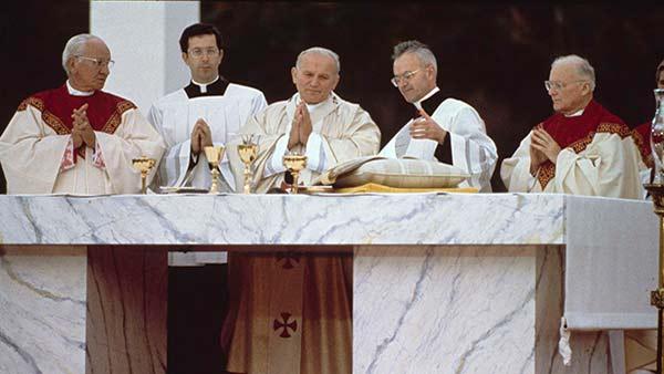 <div class='meta'><div class='origin-logo' data-origin='AP'></div><span class='caption-text' data-credit=''>Pope John Paul II performs an outdoor mass in Philadelphia, Pa., Oct. 3, 1979.</span></div>
