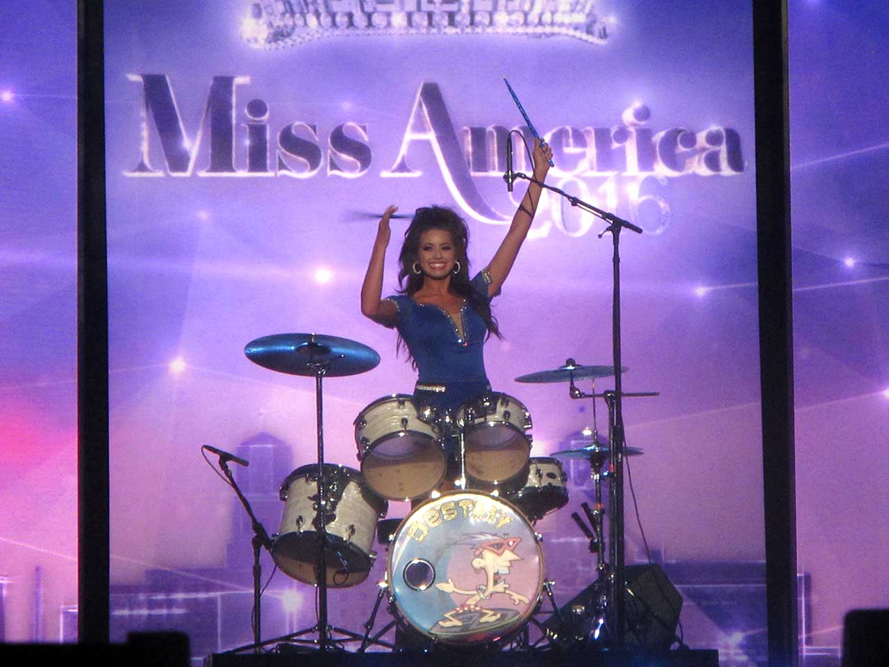 "<div class=""meta image-caption""><div class=""origin-logo origin-image ap""><span>AP</span></div><span class=""caption-text"">Miss Puerto Rico Destiny Noelle Velez plays the drums at Boardwalk Hall in Atlantic City, N.J. during preliminary competition.  (AP Photo/Wayne Parry)</span></div>"