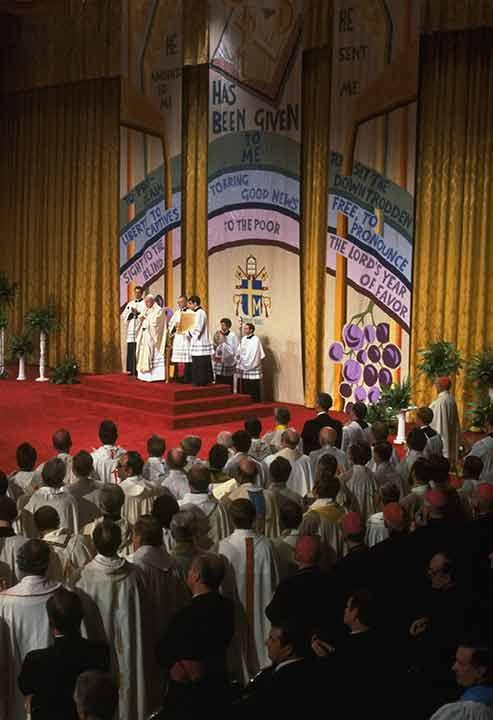 <div class='meta'><div class='origin-logo' data-origin='AP'></div><span class='caption-text' data-credit=''>Pope John Paul II is shown celebrating mass at the alter in Philadelphia, PA, October 3, 1979. Also standing at the alter is John Cardinal Krol of Philadelphia.</span></div>