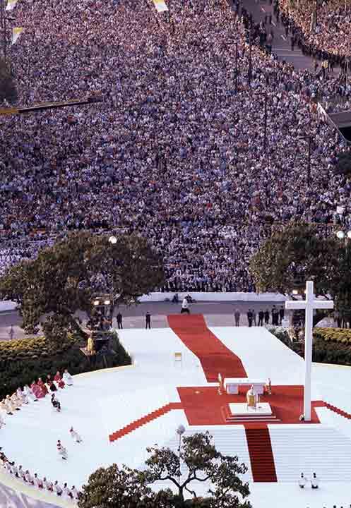 <div class='meta'><div class='origin-logo' data-origin='AP'></div><span class='caption-text' data-credit=''>Pope John Paul II stands at the altar as he performs an outdoor mass for a huge audience at Logan Circle in Philadelphia, Pa., Oct. 3, 1979.</span></div>