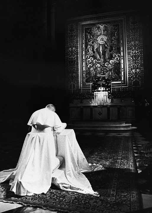 <div class='meta'><div class='origin-logo' data-origin='AP'></div><span class='caption-text' data-credit=''>Pope John Paul II prays at St. Peter and Paul Cathedral in Philadelphia, Pa., Oct. 3, 1979.</span></div>
